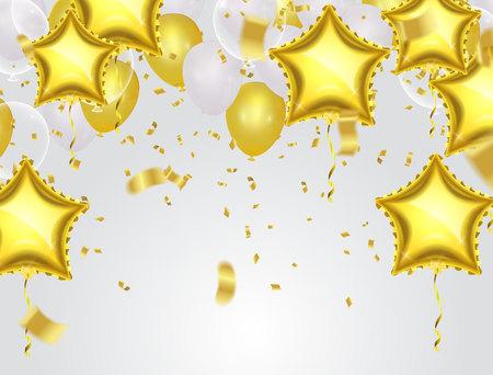 Gold star balloon on background Illustration