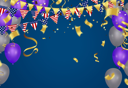 4th of July American Independence Day decorations on blue background Illustration