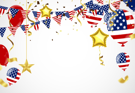 American President day background of stars flying and balloons. Holiday confetti in US flag colors for President day. Ilustração
