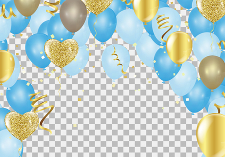 Blue balloons, confetti concept design Independence Day greeting background.of celebration, party balloons