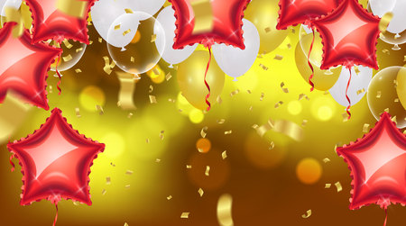 Birthday card with balloons and bunting flags. A Vector Abstract Glow Background Gold shiny flying confetti