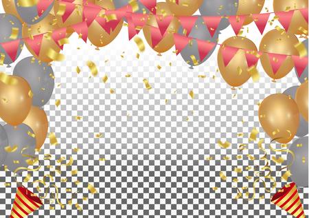 Ilustración de globos de fiesta de vector. Confeti y cintas cintas de bandera, plantilla de fondo de celebración