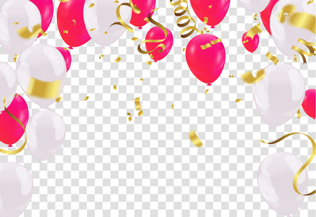 Celebration party banner with Red and white balloons happy birthday balloons Colorful  Illustration