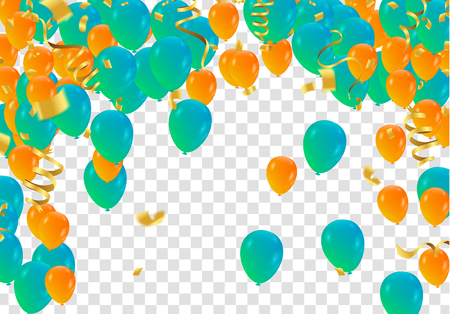 abstract vector background and Vector party balloons illustration. Confetti and ribbons flag ribbons, Celebration  イラスト・ベクター素材