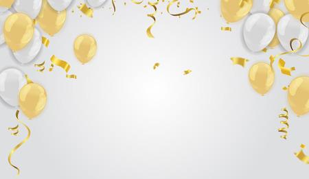 Illustration vectorielle stock confettis dorés défocalisés réalistes, paillettes isolés sur fond et ballons or blanc