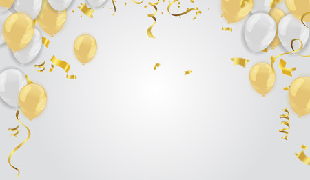 Stock illustrazione vettoriale realistico sfocato golden coriandoli, luccica isolato su sfondo e palloncini bianco dorato