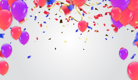 Colorful Balloons And Holiday Confetti. Vector Holiday Illustration Of Flying Balloons And Confetti Glitter Celebration background template with balloons Illustration