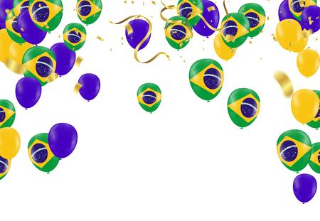 Brazil flags and Brazil balloons garland with confetti on white Confetti and ribbons flag ribbons, Celebration background template. victory.winner