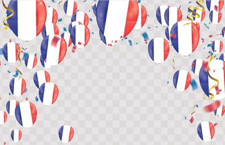 France flags and France balloons garland with confetti on white Confetti and ribbons flag ribbons, Celebration background template. victory.winner.football Vettoriali