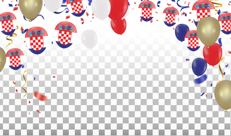 Croatian Balloons with Countries flags of national Croatian flags team group and ribbons flag ribbons, Celebration background template. victory.winner.football