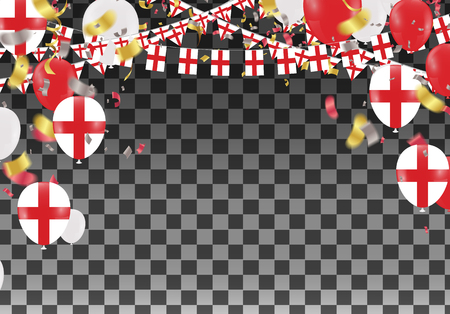 England Balloons with Countries flags of national England flags team group and ribbons flag ribbons, Celebration background template. victory.winner.football