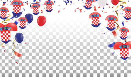 Croatian Balloons with Countries flags of national Croatian flags team group and ribbons flag ribbons, Celebration background template