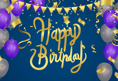 Happy Birthday typography hand drawn vector lettering on background.