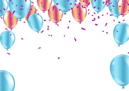 Happy Birthday.Party Flags With Confetti And Ribbons Falling On Transparent Background. Celebration Event & Birthday. Vector Vectores