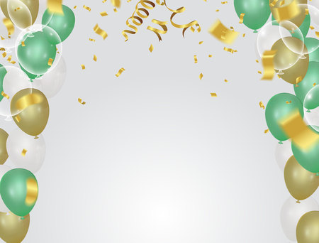 Happy Birthday typography vector design for greeting cards and poster with green gold balloon Illustration