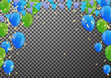 Celebration party banner with Green and Blue balloons background. Sale Vector illustration.