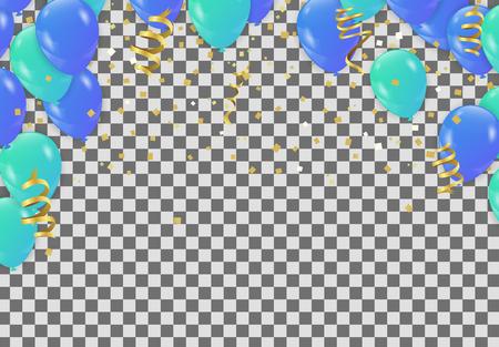 Bannière de fête de célébration avec fond de ballons verts et bleus. Vecteur de vente