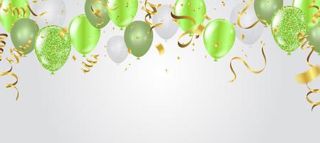 Carta di compleanno con palloncini verdi. Buon compleanno