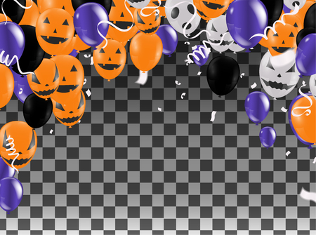 Halloween Background with Halloween Ghost Balloons.Scary air balloons.Website spooky,Background . Vector illustration