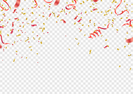 Red and gold confetti, serpentine or ribbons falling on white transparent background vector illustration. Party, festival,