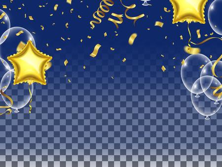 Celebre los globos y los globos estrella. Elementos de celebración navideña. Manojo aislado de globos voladores de helio brillante, grupo de objetos de decoración de fiesta en colores del arco iris del espectro.