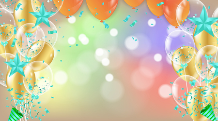 Vector party balloons illustration. Confetti Greeting card design template confetti. Celebrate brochure or flyer .Happy New Year