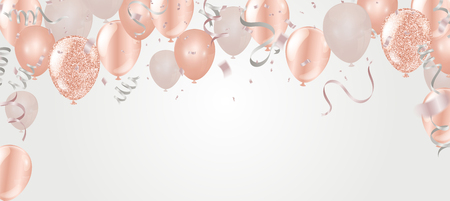 Living Coral Colour and confetti helium balloon isolated in the air.for birthday and New Year Party , anniversary, celebration, event design. Vector illustration. Colour of the Year 2019 Vectores