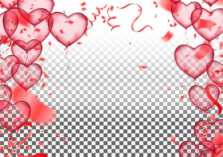 Día de San Valentín, plantilla de banner. globos de corazón con fondo. Etiquetas diseño de carteles Folleto vectorial, Celebración, te amo