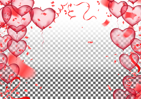 Valentine's day, banner template. heart balloons with background. tags poster design Vector brochure, Celebration, i love you Ilustração