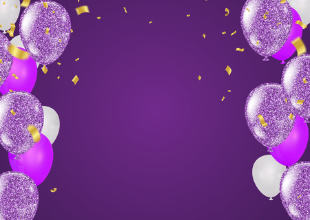 purple and white balloons and on the background. Eps 10 vector file Иллюстрация