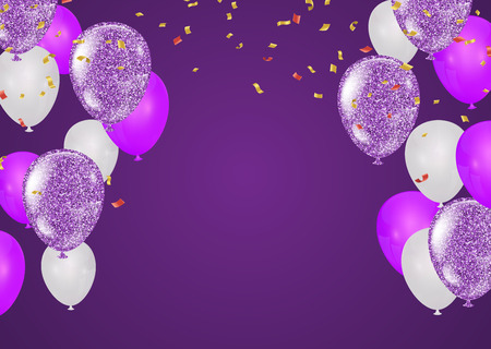 purple and white balloons and on the background. Eps 10 vector file Çizim