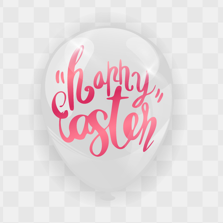 Happy Easter Calligraphy with Abstract Bunny Ears on Balloons