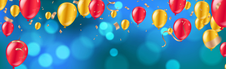 Celebration. glossy golden and red balloons with  Dark blue holiday background with colorful shining bokeh and serpentine