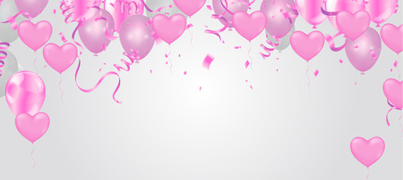 Heart balloon, Valentine's day, banner template. with confetti helium balloon isolated in the air.for birthday, anniversary, celebration, event design