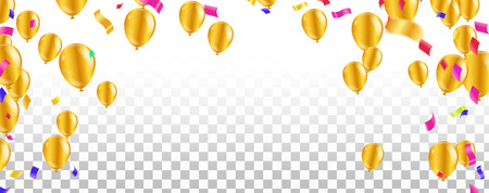 Vector party balloons illustration. Confetti and ribbons flag ribbons, Celebration background template