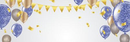 Globos de fiesta Plantilla de fondo de celebración de ilustración de feliz cumpleaños con confeti y cintas con lugar para su mensaje