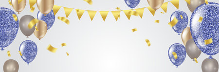 Party balloons Happy birthday illustration celebration background template with confetti and ribbons with place for your message