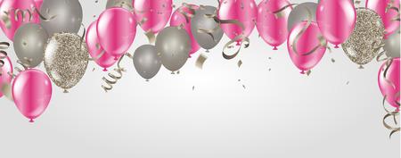 Palloncini per feste Modello di sfondo celebrazione illustrazione buon compleanno con coriandoli e nastri con posto per il tuo messaggio Vettoriali