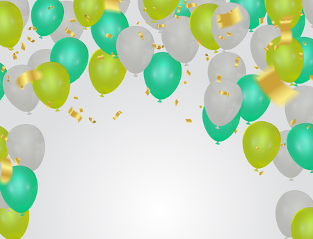 Green balloons on white background,Vector illustration
