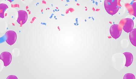 Festlicher Geburtstagshintergrund mit Ballonfeierfahnenschablone buntes eps.10
