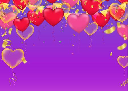 Festa di vettore Illustrazione di palloncini cuore. Bandiera di coriandoli e nastri Tipografia di modello di sfondo viola di celebrazione per il saluto Vettoriali