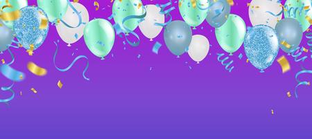 Ilustración de vector de feliz cumpleaños. Confeti y cintas globo naranja dorado, confeti, plantilla de diseño para celebración de cumpleaños. Arte
