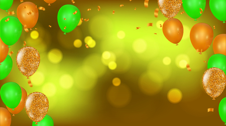 Party Border of realistic colorful helium balloons, ww celebration background.