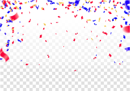 Confetti and red and blue ribbons and celebration background template, Happy birthday vector Vector Illustration