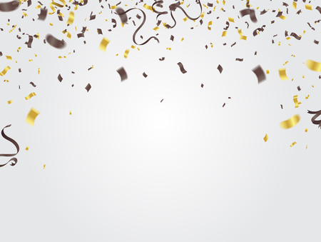 Confetti and Gold and silver ribbons and celebration background template, Happy birthday vector Ilustração Vetorial