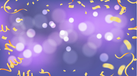 Confetti and Gold ribbons and celebration background template, Happy birthday vector Stock Illustratie