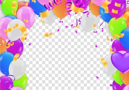 birthday card with  balloons. Happy birthday