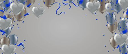 Beautiful ribbon and  Bright and colorful air balloons as background Ilustração