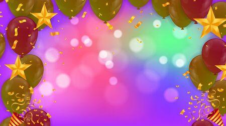 Różowe balony światła i kolorowe balony na tle. Eps 10 plik wektorowy Ilustracje wektorowe