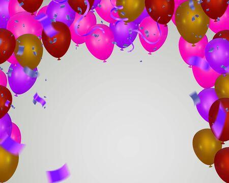 Rosa Lichtballons und bunte Luftballons im Hintergrund.